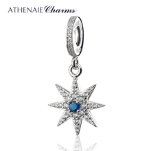 ATHENAIE 925 Silver with Pave Clear CZ Sparkling Firework Pendant Drops Fit All European Bracelets Necklace