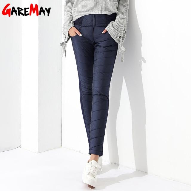 Women Duck Down Pants Winter High Waist Skinny Warm Formal Pants Female Black Elastic Waist Work Trousers GAREMAY 8519 3