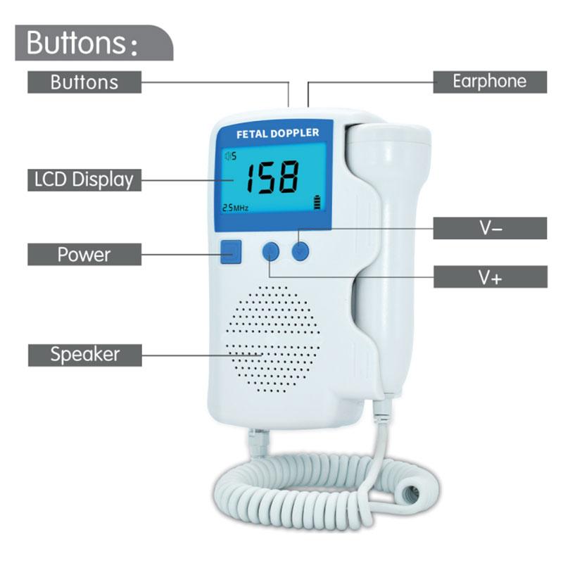 Ultrasonic Doppler Fetal Heart Rate Detector, Home use LCD Fetal Portable Heartbeat Detector for pregnant women Built-in speaker (2)