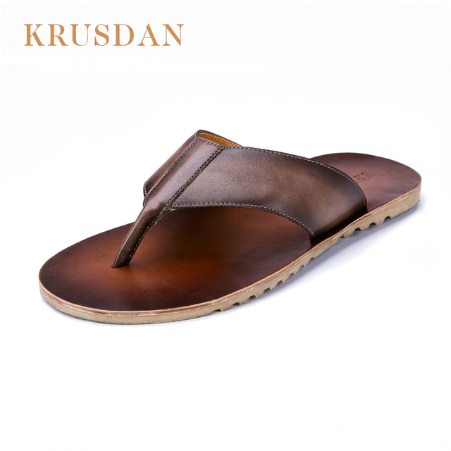 fcda3193b 2018 Summer Men s Genuine Leather Flip Flops Slippers For men Beach  Slippers Real Leather Handmade Shoes Man Flip Flops T07