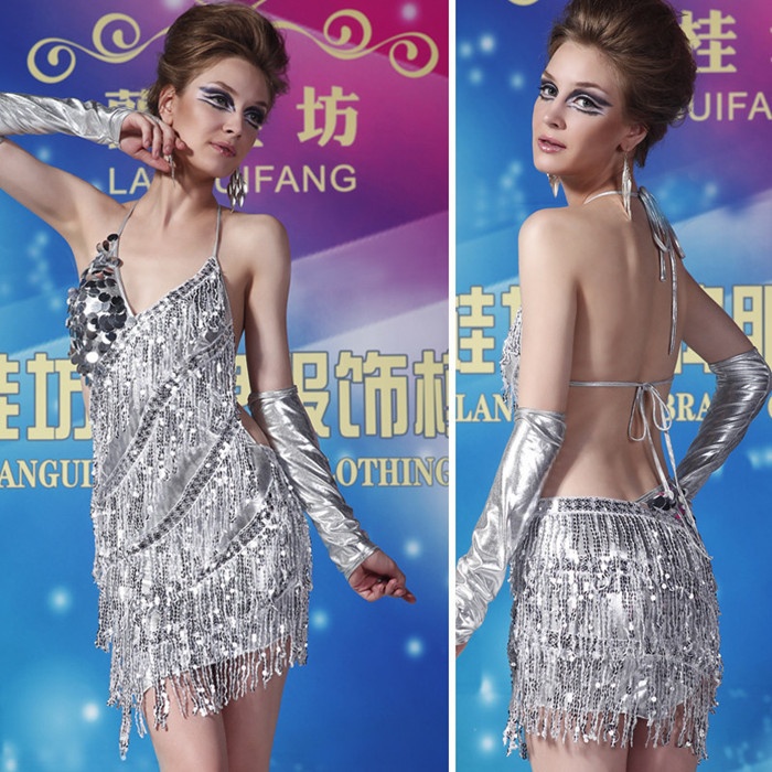 Gold Lady Cocktail Club Wear Party Latin Dance Glove Asymmetric Sequin Fringe City Dress