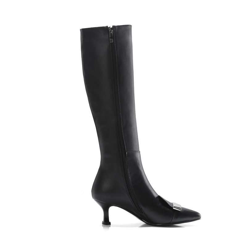 Bella Du Genou Hauteur À Zyl1426 Bottes Chaussons Hadid Bout black 40 Taille Femmes Apricot Femme Pointu 34 Anmairon 2018 XwqYR8c