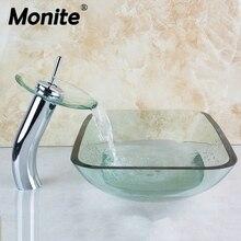 Ванная комната прозрачный одно отверстие квадратный хромовый Вентили Для раковины Ванная комната стеклянная раковина с водой всплывающий дренажный Бассейн набор
