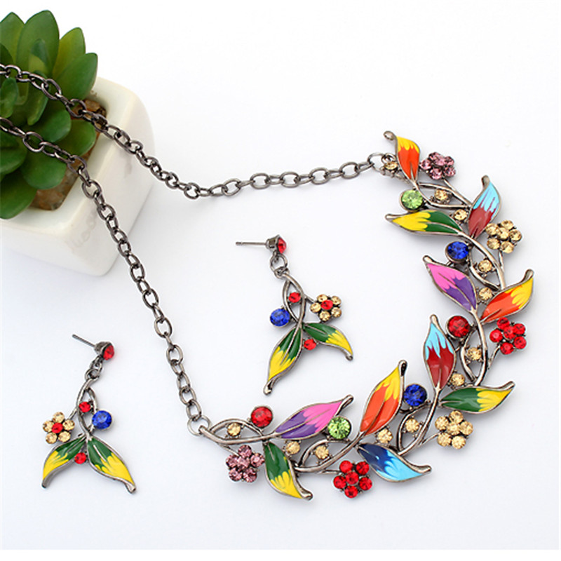 Tendy Vintage Flower Enamel Jewelry Set For Women Fashion Bridal Jewelry With Statement Nacklace Earrings Nickel Free
