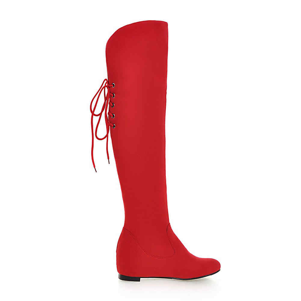 Doratasia ยี่ห้อขนาดใหญ่ 34-43 ขายร้อนเพิ่มส้นสูงเข่ารองเท้าผู้หญิงรองเท้าสีดำรองเท้าสีแดงหญิงรองเท้าผู้หญิง
