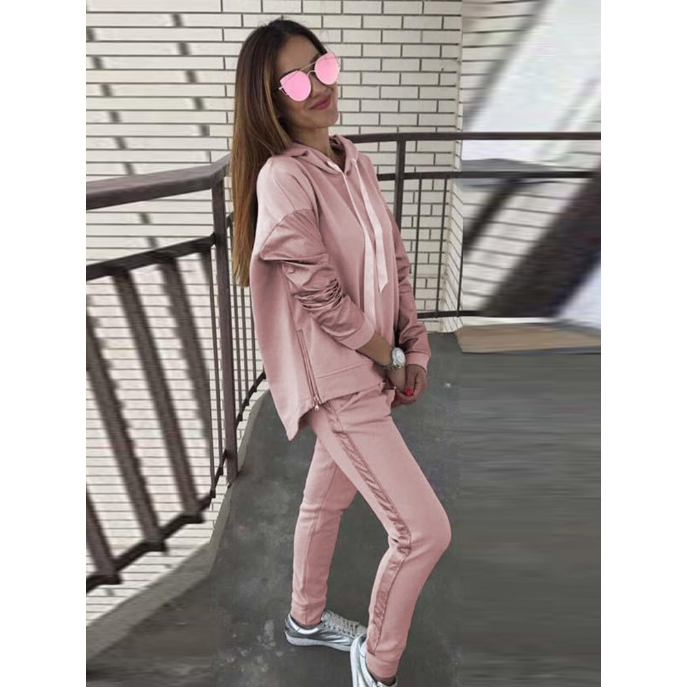 Casual Tracksuit Woman Sets Drawstring Hooded Hoodies Striped Sweatpants Two Piece Set Autumn Streetwear Fashion Pink Sweatsuit