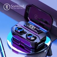 Samload Bluetooth 5.0 Headphones Built in Mic Deep bass Wireless Earphones IP6 7 Waterproof Earbud with 3300mAh Box For iPhone X