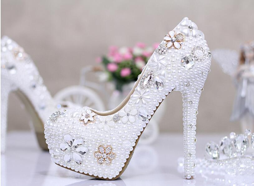 ФОТО Autumn Winter Fashion Beautiful Flowers Pearl Diamond Wedding ShoeS Ultra-High Platform Bride Pumps White Fine Documentary