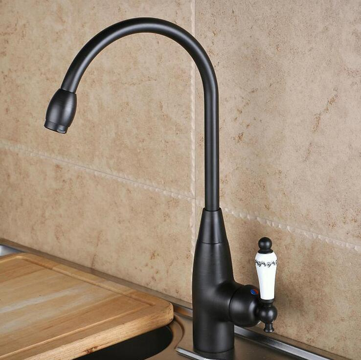 Oil Rubbed Bronze Kitchen Sink Basin Faucet Black Fashion Rotated Basin Faucet Hot Cold