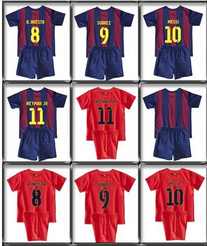 aaad18e25 MESSI  10 L. SUAREZ  9 NEYMAR JR  11 Bar home kids boy youth soccer Jersey  kits(shirts + shorts) 14 15