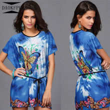Summer Dress For Women 2017 Short Sleeve Loose Thin Style Butterfly Printed Elegant Home Casual Dress