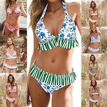 цена на Sexy Floral Print M Waist Swimsuit 2018 Bikini Push Up Swimwear Women Vintage Biquini Bathing Suit Maillot de Bain Femme XXL
