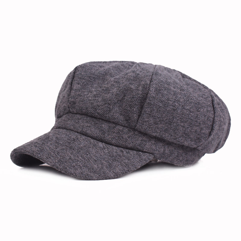 Women's Hat Autumn And Winter Woolen Thicken Warm Newsboy Caps Tightly Adjust The Size Octagonal Hat Simple Fashion Tongue Cap
