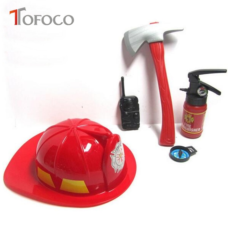 TOFOCO 5pcs/ Set Kids Play Firefighter Toy Fireman Helmet Fire Rescue For ChildrenS Tools Learning Toy