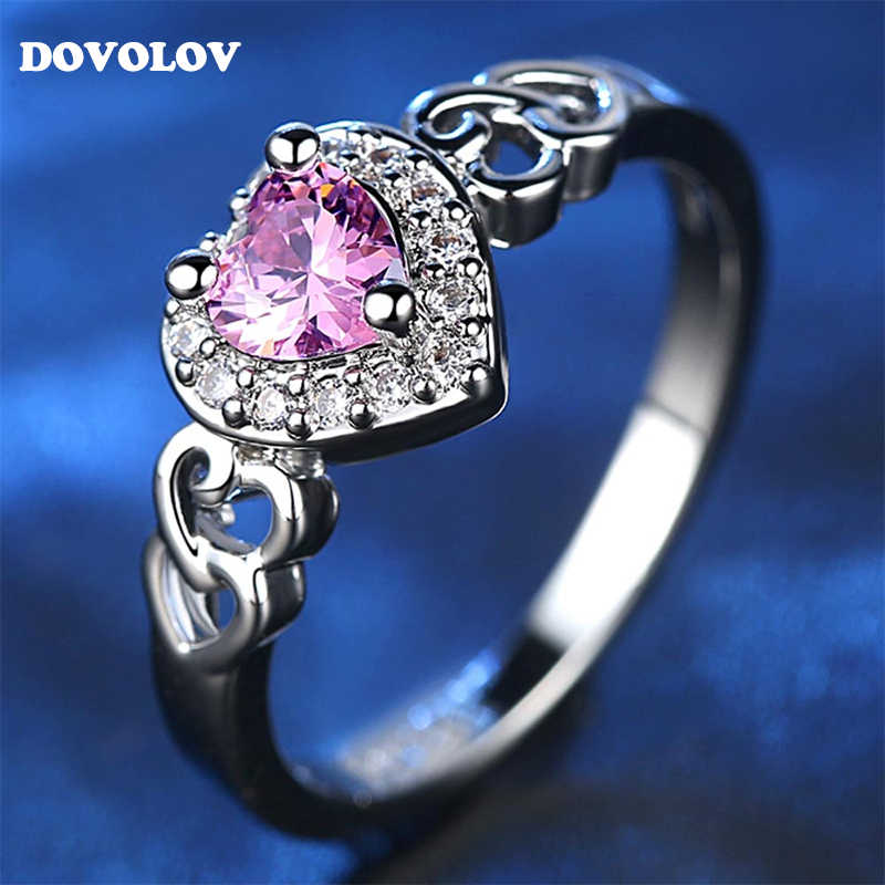 Dovolov Korea  Rhodium Plated Heart Pink Crystal Ring For Women Wedding Engagement Rings For Women Jewelry A317