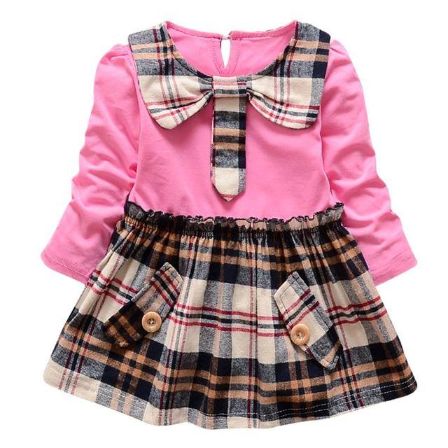 4bff9eb90dd71 Bébé tout Fille Enfants Manches Longues Vêtements Robe Fille Douce Robes  Chaude