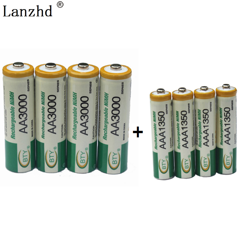 Bettery AA AAA <font><b>1.2V</b></font> Rechargeable Battery 4PCS AA Batteries + 4PCS AAA Rechargeable <font><b>NI</b></font>-<font><b>MH</b></font> Batteries for toy and Remote control image