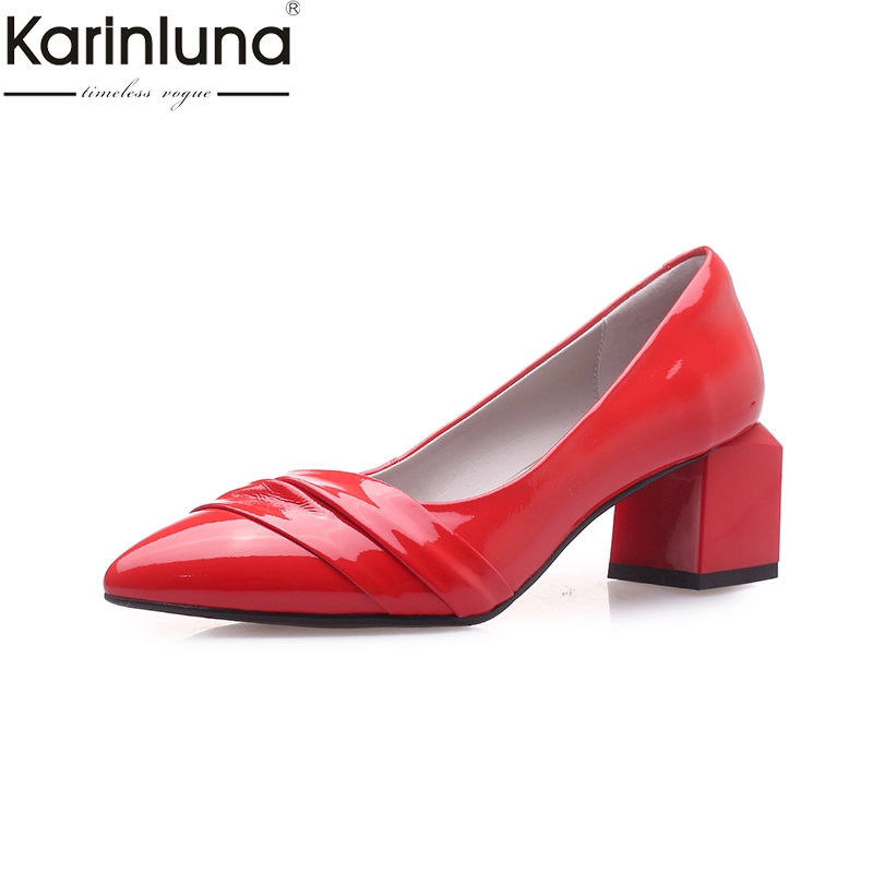 KarinLuna Chunky Heels Brand New Genuine Leather Pointed Toe Classics Fashion womens Pumps Mature Office Lady womens ShoesKarinLuna Chunky Heels Brand New Genuine Leather Pointed Toe Classics Fashion womens Pumps Mature Office Lady womens Shoes