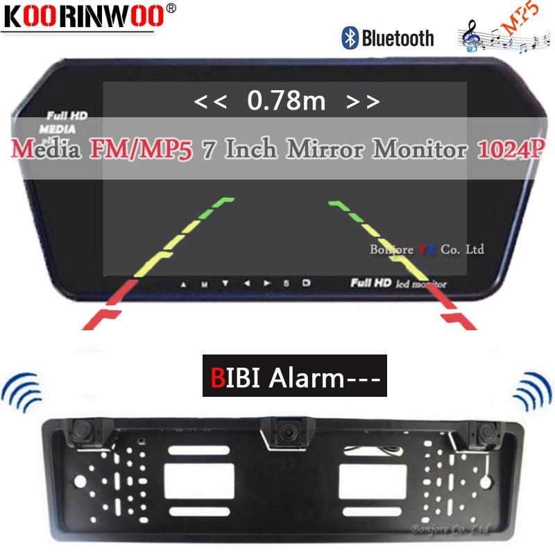 Koorinwoo EU Multimedia 1024 p HD 7 Monitor Bluetooth MP5 Video Auto achteruitrijcamera Parktronic Zoemer Alarm sensoren