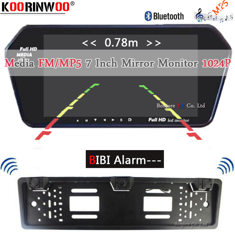 Koorinwoo EU Multimedia 1024P HD 7 Mirror Monitor Bluetooth MP5 Video Car rear view camera Parktronic Buzzer Alarm Sensors