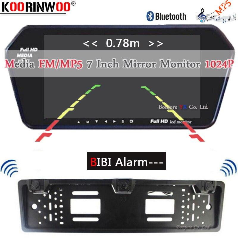 Koorinwoo UE Multimedia 1024 p HD 7 Monitor Dello Specchio di Bluetooth MP5 Video Macchina fotografica di retrovisione Parktronic Cicalino di Allarme sensori