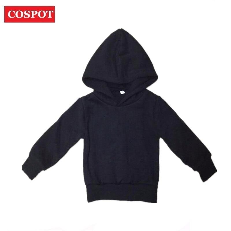 COSPOT Baby Girls Boys Winter Hoodies Coat Boy Plain Black Gray Sweatshirts Kids Autumn Tops Children Warm Outfits 2018 New D23
