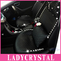 Ladycrystal Custom High Quality PU Leather Car Seat Cover Diamond Crystal Rhinestone Auto Interior Accessories Car Cushions