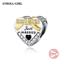 Fit Original Pandora Charms Bracelet 100% 925 Sterling Silver Just Married Wedding Heart Shaped Beads Charms Jewelry Love Gifts