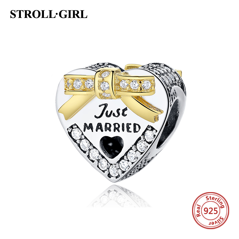 Fit Original pandora Charm Bracelet 100% 925 Sterling Silver Just Married Wedding Heart Shaped Beads Charms Jewelry Love Gifts strollgirl car keys 100% sterling silver charm beads fit pandora charms silver 925 original bracelet pendant diy jewelry making