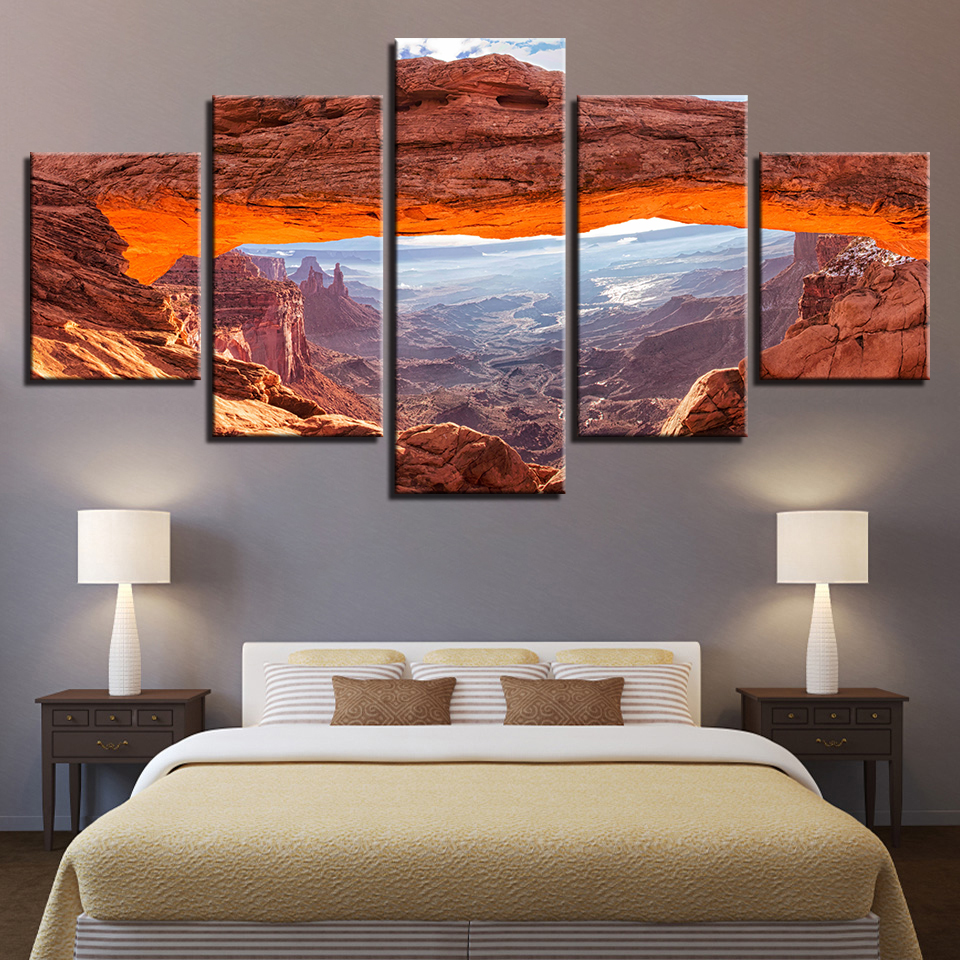 Canvas hd prints pictures living room wall art poster 5 pieces sunshine mountain valley landscape paintings