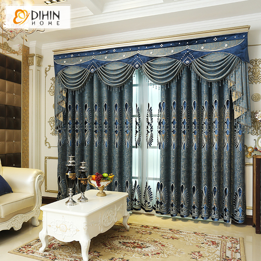 DIHIN HOME Hot Sale Embroidered Luxury European Style Luxury Curtain For Living Room High Quality Jacquard