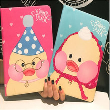 2017 new arrive cute duck pattern leather cover for ipad 2 3 4 common brand quality cartoon tablet case with smart sleep