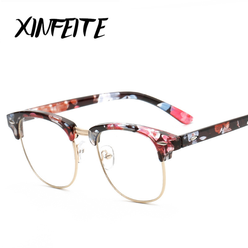 09fbe107c8f XINFEITE Unisex Vintage Eyewear Glasses Frame 2018 Men Women UV Protection Male  Female Casual Retro Half Frame Clear Eyeglasses