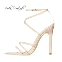 2018 summer high heels stilettos ankle strap yellow red blue pink gold  silver brown big size d5d47440ef2e