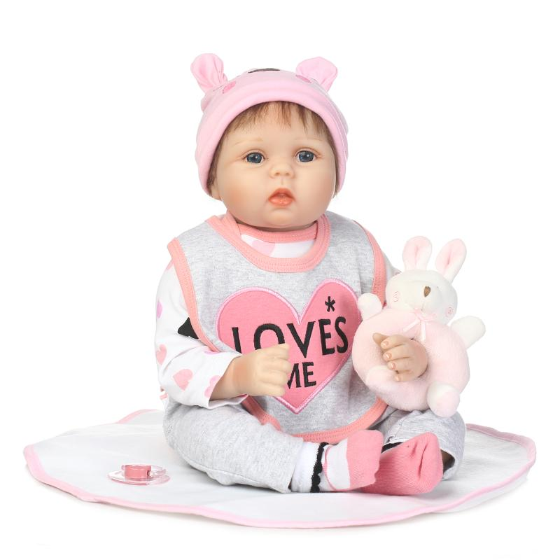Hot 55cm Soft Silicone Reborn Babies Dolls Toy 20inch Newborn  Princess Girl Baby Doll With Toy Lovely Birthday Gift Present hot sale 2016 npk 22 inch reborn baby doll lovely soft silicone newborn girl dolls as birthday christmas gifts free pacifier