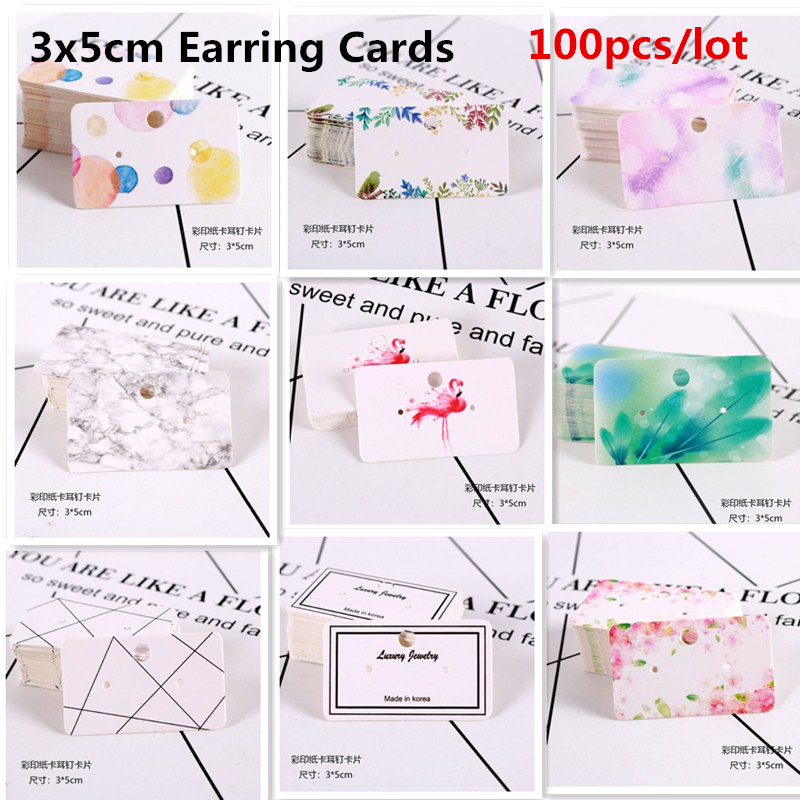100pcs 3x5cm White Paper With Colorful Jewelry Display Earring Stud Cards Hang Favor Label Tag Jewelry Making Diy Accessories