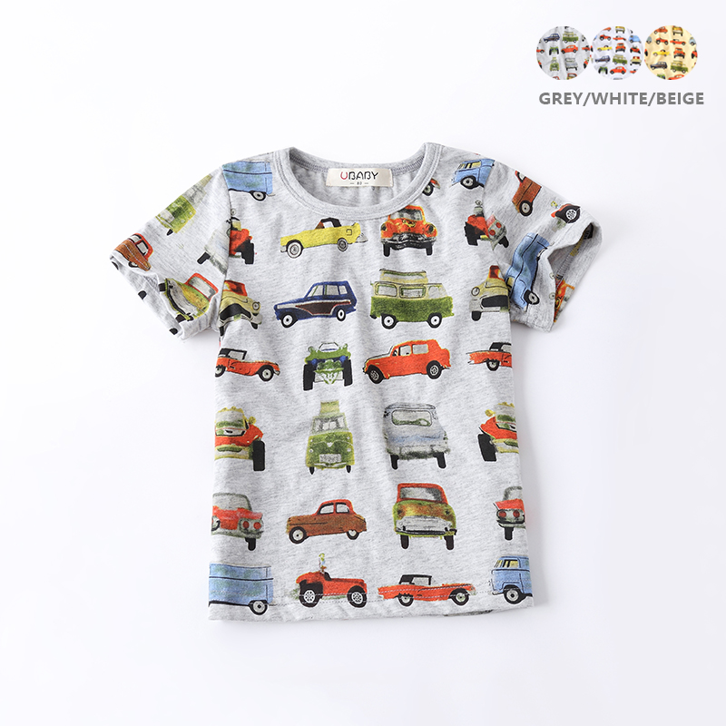 Boys T-shirt Cars Printed 2017 Summer Short Sleeve Tees Children Clothing Bottoming Kids Shirt For Age 2-10, Grey/Yellow/White mens casual 3d personality skull printing short sleeve t shirt cotton sport black tees