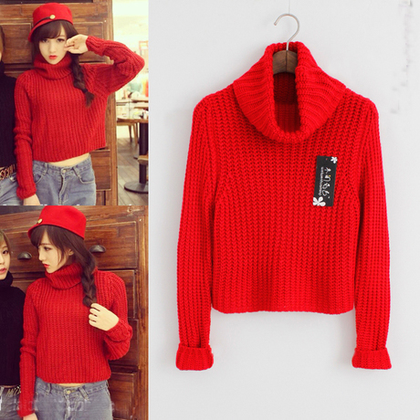 Solid Color Turtleneck Sweater For Women Winter Pullover Sweater ...