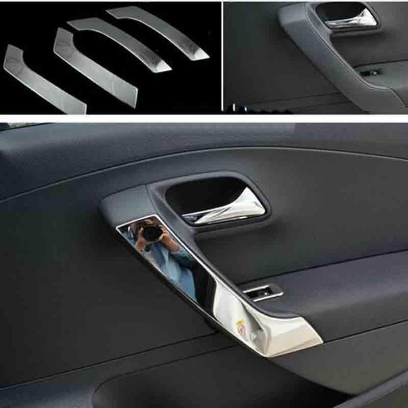 Poignée de porte intérieure en acier inoxydable accessoires de voiture style automobile pour VW Volkswagen Polo 2011-2017 6R