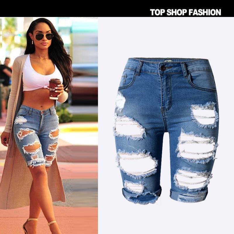 a2e03b77e436b Street Hole Stretch Jeans Shorts Slim Torn Femme Denim Shorts 2016 Europe  Half Ripped Jeans Shorts New High Waist Personality