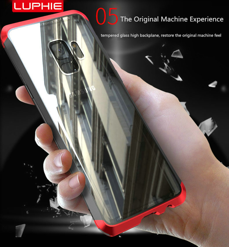 LUPHIE Case For Samsung Galaxy S9 Plus Metal Bumper Clear Tempered Glass Back Cover  (5)