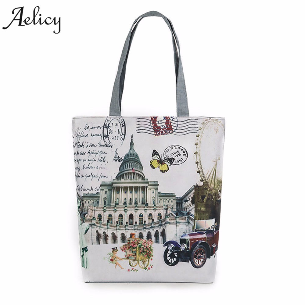 0e3c5d2d9c3d Detail Feedback Questions about Aelicy Eiffel Tower Canvas Tote Casual  Beach Bags Women Summer 2018 Canvas Shopping Bags Handbags Women Famous  Brands Bolsa ...