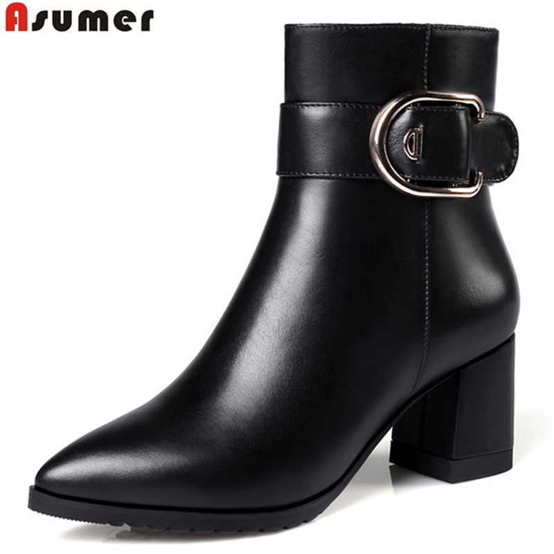 ASUMER hot sale new arrive women boots pointed toe black zipper buckle genuine leather ankle boots square heels plus 32-45ASUMER hot sale new arrive women boots pointed toe black zipper buckle genuine leather ankle boots square heels plus 32-45