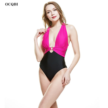 OCQBI New 2019 Sexy One Piece Swimsuit Women Plus Size  Push Up Monokini Bandage Cross Back Neck