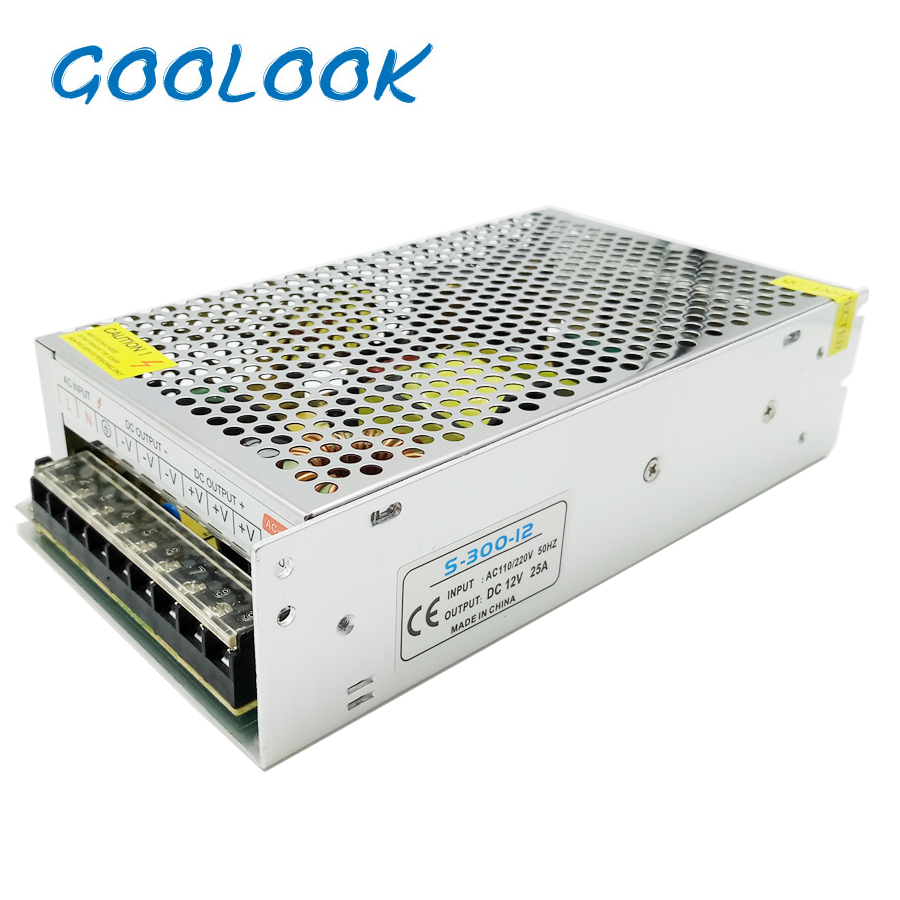 GOOLOOK LED Strip <font><b>Power</b></font> <font><b>Supply</b></font> AC110-220V DC <font><b>12V</b></font> Switching Driver Adapter <font><b>25A</b></font> 300W Transformer for Led Strip image