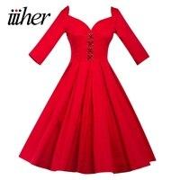 Iiiher Women Summer 60s Vintage Dress Plus Size Elegant Style V Neck Bow Long Sleeves Retro