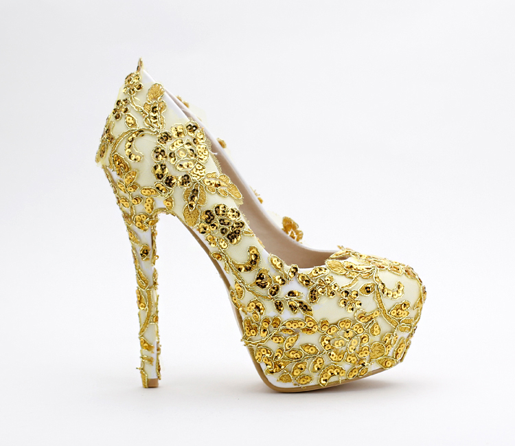 Dress Shoes Women's Pumps Wedding Shoes Gold Color Shoes glitter ...