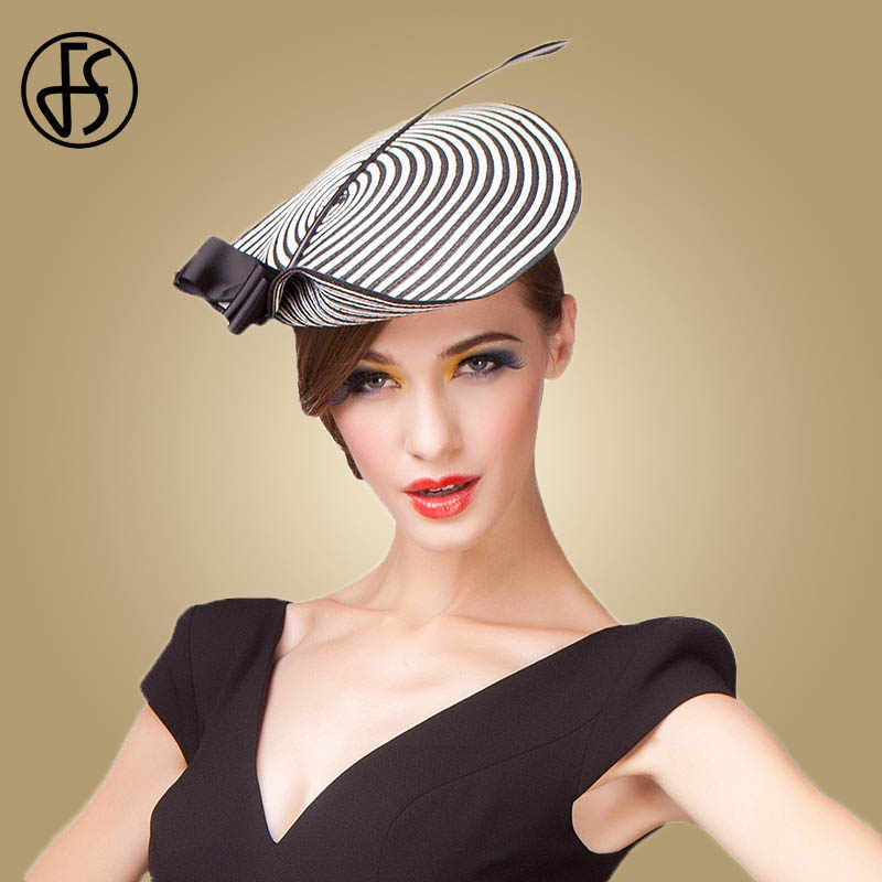 FS Fascinator Wedding Hats For Women Elegant Black White Feather Striped Cupid Pillbox Hat Vintage Cocktail Lady Church Fedoras