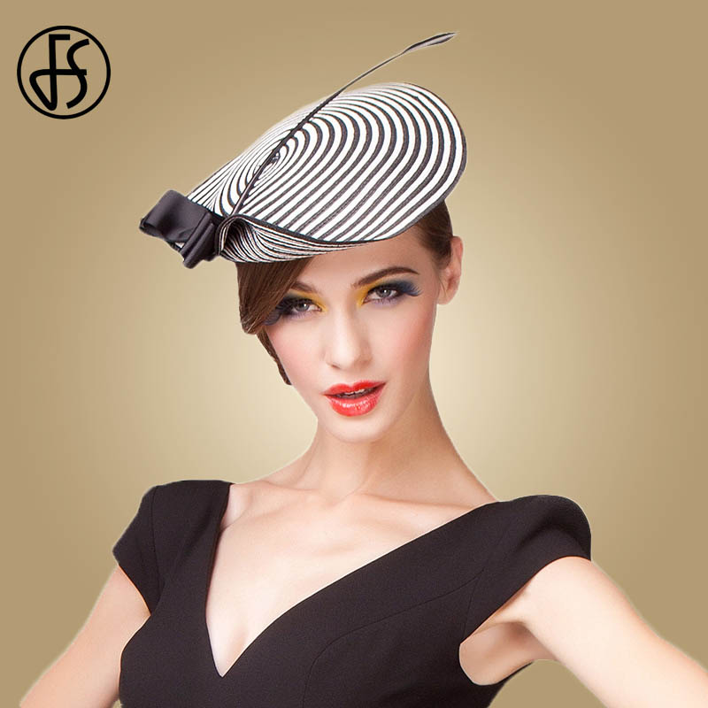 c57ac945d FS Fascinator Wedding Hats For Women Elegant Black White Feather Striped  Cupid Pillbox Hat Vintage Cocktail