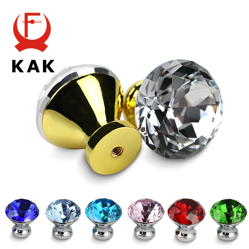 KAK 30mm Kitchen Cabinet Handles Diamond Shape Design Crystal Glass Knobs Cupboard Pulls Drawer Knobs Furniture Handle Hardware